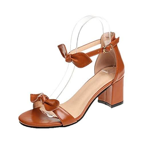 b8acd4e8fc5d8 Houfeoans Women High Heel Sandals Ankle Strap Bow-Not Sandal Ladies Sweet  Elegant Shoes Party Footwear,Brown,7