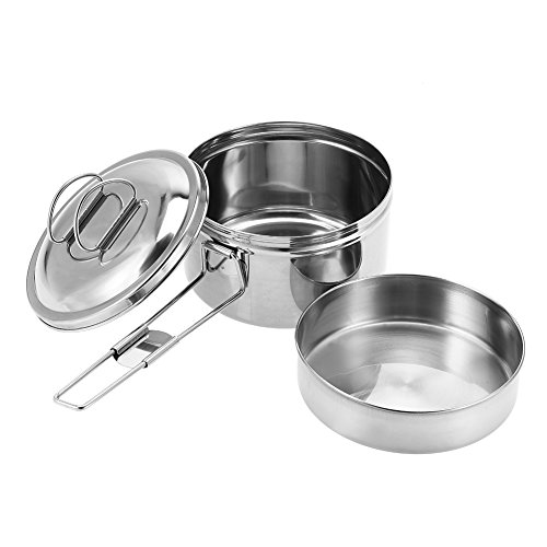 Dilwe Solo Cook Pot, Portable Stainless Steel Cookware Companion Pan Set for Camping Picnic by Dilwe