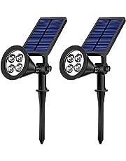 Lampe Solaire Extérieure,Eclairage Exterieur IP65 Etanche Lumière Solaire Sans Fil à 3 Modes 2 LED Ultra Puissante 360° Angle Reglable avec Détecteur de Mouvement(Rechargeable,Câble USB Incluse)