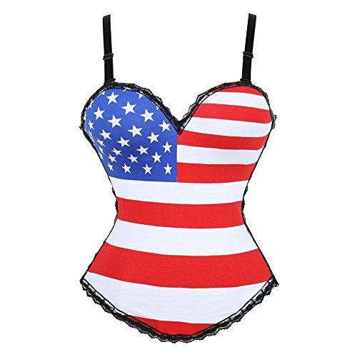 - frawirshau Women's America Flag Print Shapewear Black Lace Trim Overbust Corset 2XL