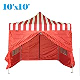 DELTA Canopies 10'x10' Ez Pop up Canopy Party Tent Instant Gazebo 100% Waterproof Top with 4 Removable Sides Red Stripe - E Model
