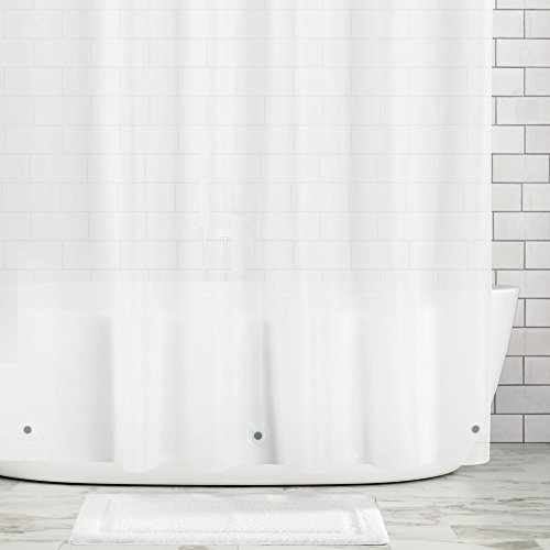 "mDesign Stall Sized Waterproof, Mold/Mildew Resistant, Heavy Duty Premium Quality 10-Guage Vinyl Shower Curtain Liner for Bathroom Shower Stall and Bathtub - 54"" x 78"", Frost"