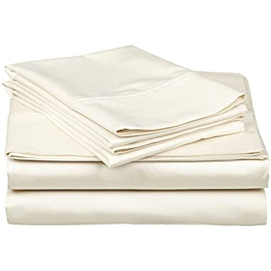 Organic Cotton Sheet Set - 600 Thread Count - 100% Cotton 4pc Bed Sheet Set - (King, Ivory)