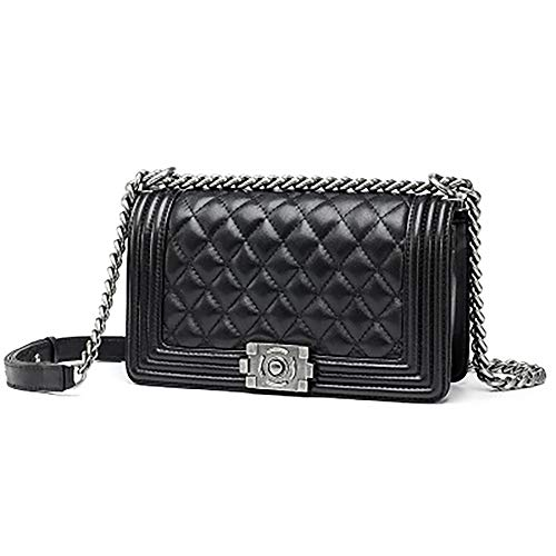 Chain x Sheepskin for 20 x Small Shoulder Bag 13cm and Leather Bag small Rhombic Ladies Women Lock Fashion 8 Female Fragrance Black EDLUX with Red Genuine Polyester Bag Pq1zX