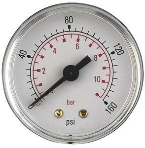 Air Pressure Gauge 1/4 bsp Rear Entry 50mm dial 0-200psi Pneumax