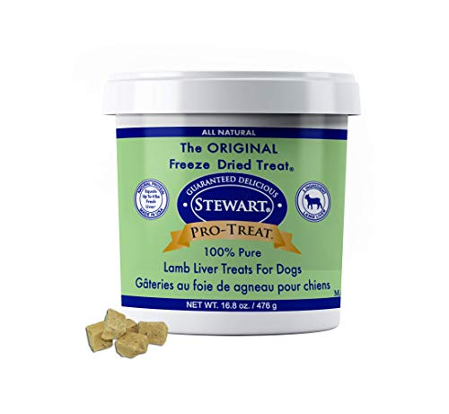 Stewart Pro-Treat, Freeze Dried Lamb Liver Dog Treats, Single Ingredient, Grain Free, USA Made, 16.8 oz. Resealable Tub