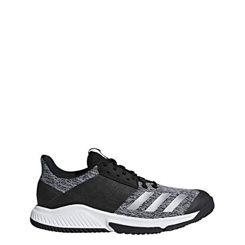 adidas Women's Crazyflight Team Volleyball Shoe, Black/Silver Metallic/White, 10 M US