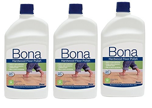 3 PACK Bona Hardwood Floor Polish - High Gloss, 32 oz