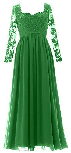 MACloth Women Maxi Evening Formal Gown Long Sleeves Mother of the Bride Dress Green mmszJ