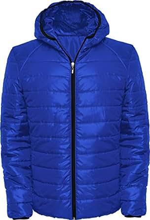 Chaqueta acolchada con relleno y capucha ajustada (S, Azul ...