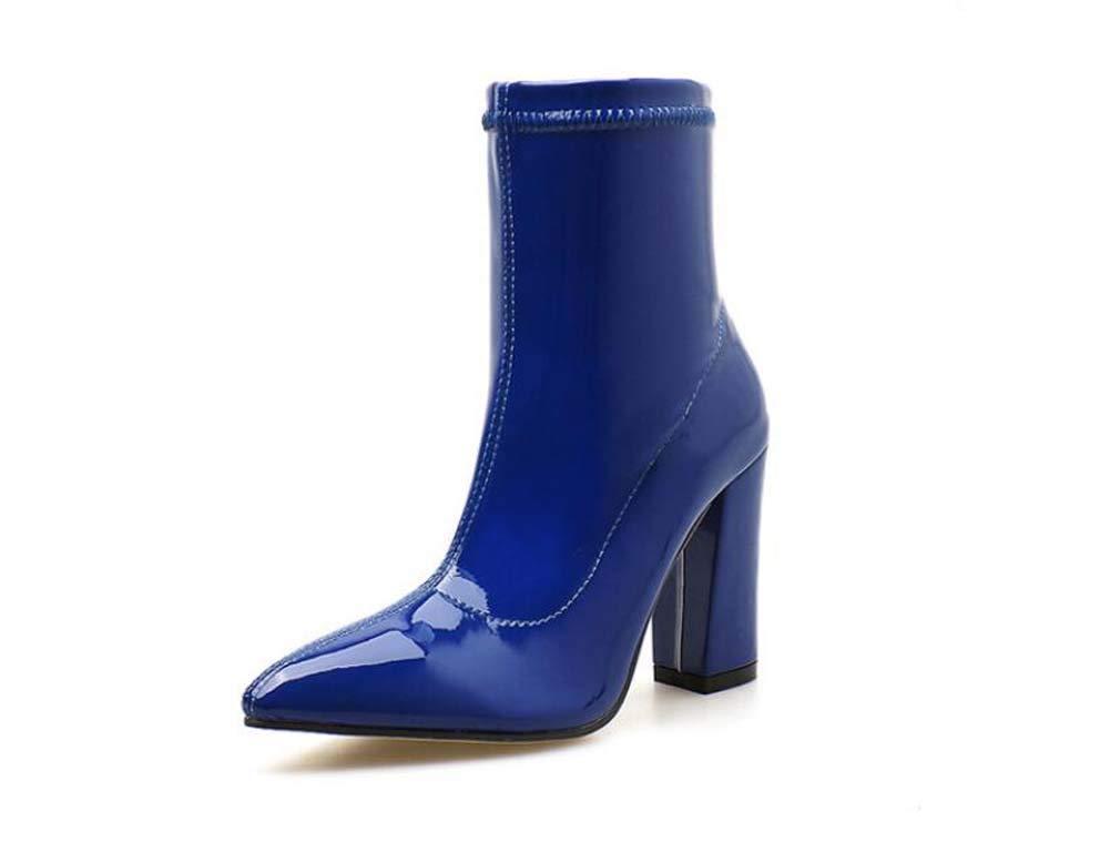 Frauen Martin Stiefel 10Cm Chunkly Heel Spitze Zehen Knöchel Stiefelie Reine Farbe Reißverschluss Kleider Schuhe EU-Größe 35-40
