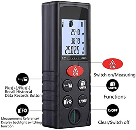KOBWA T/él/ém/ètre Laser 60m Num/érique Portable de Precision,Metre Laser Mesure de Distance Professionnel avec Manuel fran/çais