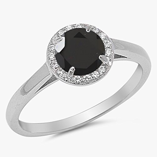 925 Sterling Silver Faceted Natural Genuine Black Onyx Round Halo Ring Size 7 Genuine Round Black Onyx Ring
