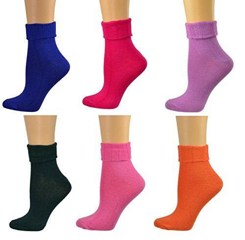 - Sierra Socks Women Triple Cuff Crew Cotton Colorful Socks 6 Pair Pack W6011 (Shoe Size: 6-10, Sock Size: 9-11, Green, Pink, Orange, Purple, Violet, Rose)