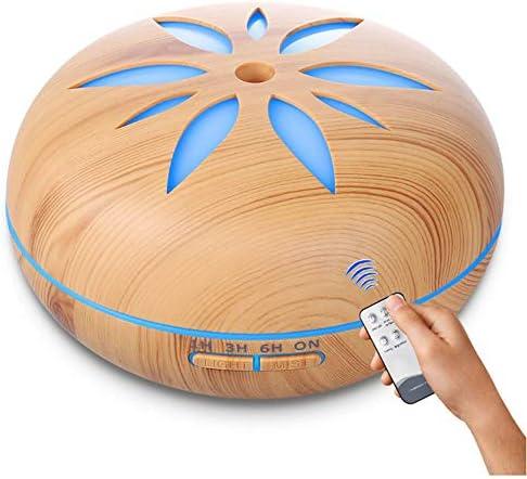 Chnzyr Aromatherapie Diffuser 550 Ml Ultraschall Holzmaserung LED Mit 7 Farben Aromatherapie Ätherische Öle Luftbefeuchter Für Yoga Salon Spa Wohn Schlaf Bade Oder Kinderzimmer Hotel