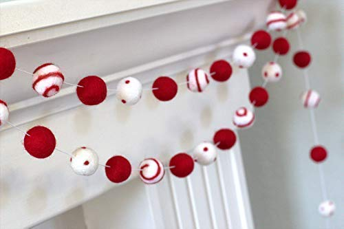 "Red White Felt Ball Swirl and Dot Garland- Christmas, Valentine's Holiday Decor- 1"" (2.5 cm) Wool Felt Balls from Matthew + Mae"