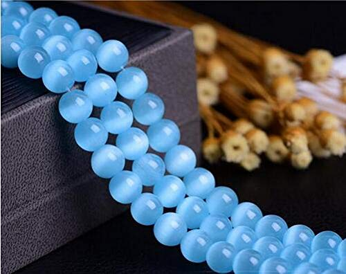 Pukido AAA+ Cat Eye Beads 6/8/10/12MM Natural Glass String Loose Space Beads Opal DIY Charm Beads for Jewelry Making Bracelet Z458 - (Color: Light Blue, Item Diameter: 8mm Approx 46pcs)