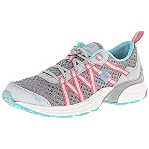 RYKA Women's Hydro Sport Water Shoe Cross-Training Shoe, Silver Cloud/Cool Mist Grey/Winter Blue/Pink, 9 M US