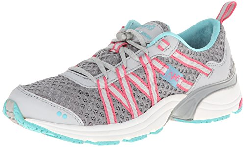 RYKA Women's Hydro Sport Water Shoe Cross Trainer, Silver Cloud/Cool Mist Grey/Winter Blue/Pink 7.5 M US