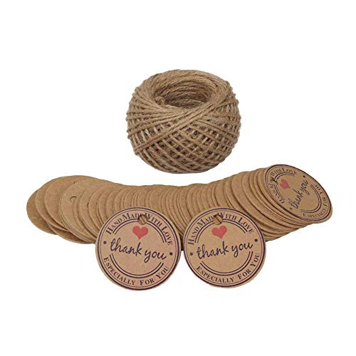 Gift Tags, Supreona 100 PCS Kraft Paper Tags for Wedding Xmas Rounded Craft Hang Tags with Free 100 Feet Jute Twine