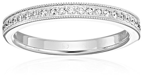 14k White Gold 2.5mm Pave Set Wedding Band with Milgrain Stackable Ring (1/4cttw, SI1, G Color), Size 7 -