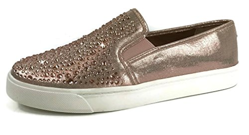 Cool Slip On Sneakers - Trendy Shoes - Comfortable Closed Toe, Rose Gold Crystal, 10