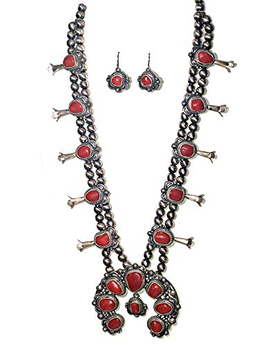 Genuine Natural Red Coral Squash Blossom Necklace and Earrings Set, 925 Sterling Silver, Artist Thomas Francisco Signed and Hallmarked, Navajo Native American USA Handmade, One of a Kind