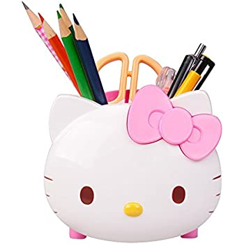 Cute Hello Kitty Pen Holder Pen Container Desk Organizer Multifunctional  Office Supplies Storage (Pink)