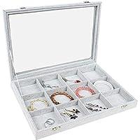 High-grade Glasse Plate Windows Flannelette 12 Lattices Jewelry Box Gray 0826-b
