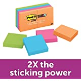 Post-it Super Sticky Notes, 2x Sticking Power, 2 in x 2 in, Rio de Janeiro Collection, 8 Pads (622-8SSAU)