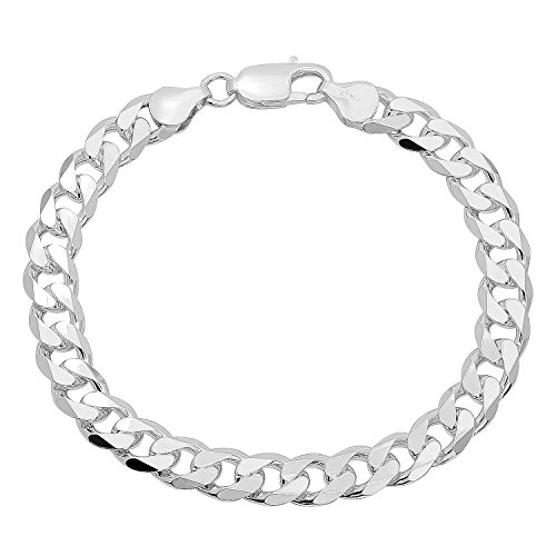 8mm Solid 925 Sterling Silver Beveled Curb Link Italian Crafted Bracelet, 8
