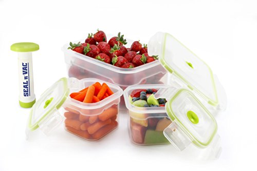 Seal n' Vac 7 pc. Square and Rectangle Containers Set Includes 1.9 Cup, 1.9 Cup, 10.2 Cup and Pump (Pump N Seal compare prices)