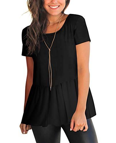 HPLY Womens Short Sleeve Round Neck Cotton T-Shirts Casual Ruffle Hem Tee Tops Black/L