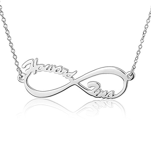 LONAGO Personalized Infinity Name Necklace 2 Names Customized Infinity Pendant Memory Necklace Graduation Gift 925 Sterling Silver - Date Sterling Silver Necklace
