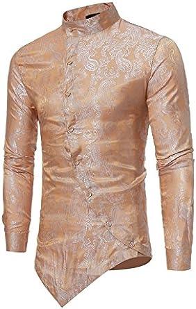 Camisa asimétrica de la impresión masculina de la moda de ...