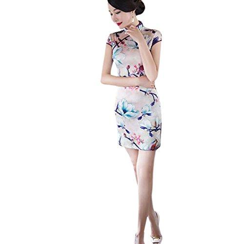 Cheongsam Qipao Elegante noche Mujer 04 Vestido de Style Floral Impreso Chino Slim Seda Hzjundasi Retro Corto U0APq6xndA