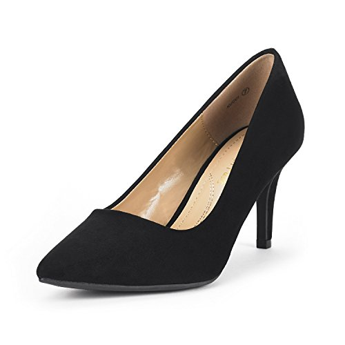 DREAM PAIRS Women's KUCCI Black Suede Classic Fashion Pointed Toe High Heel Dress Pumps Shoes Size 9.5 M US by DREAM PAIRS