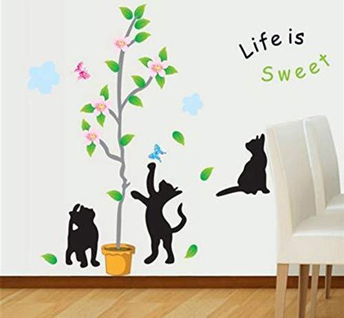 JQSM Kids Room Decoration Living Room Wall Stickers Stairs Glass Creative Stickers Cartoon Playful Kitten Wallpaper 50X70Cm