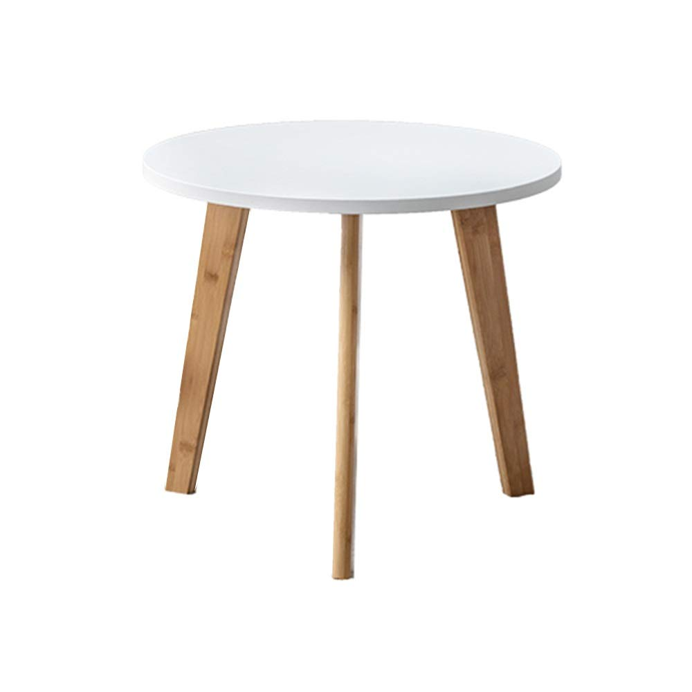 LJHA bianzhuo End Table, Bamboo Small Round Table Bedside Sofa Coffee Side Tables Lazy Small Table Reading Table Computer Table for Living Room Bedroom Balcony (6, White Bedside Table by GYH End Table