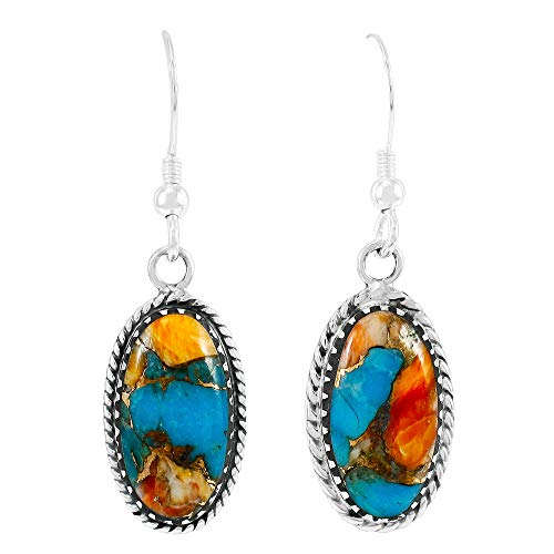 (Turquoise Earrings 925 Sterling Silver & Genuine Turquoise (Spiny Turquoise) )