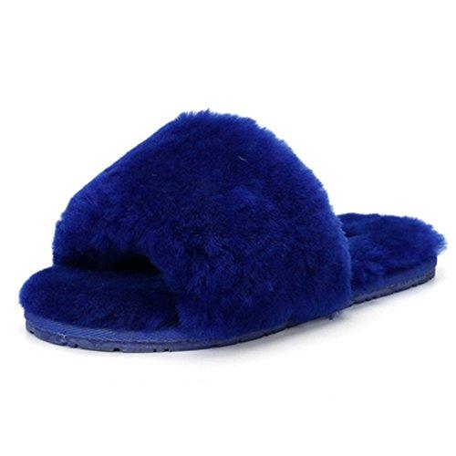 Elais J Mujeres Invierno Fluffy Faux Fur Clog Slip On Slip-on Espuma De Memoria Zapatillas Deep Blue