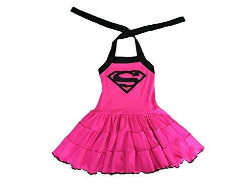 [Superhero Girl Dress- Superhero Girl Costume – Hot Pink & Black Supergirl Birthday Dress Up Costume] (Supergirl Black Costumes)