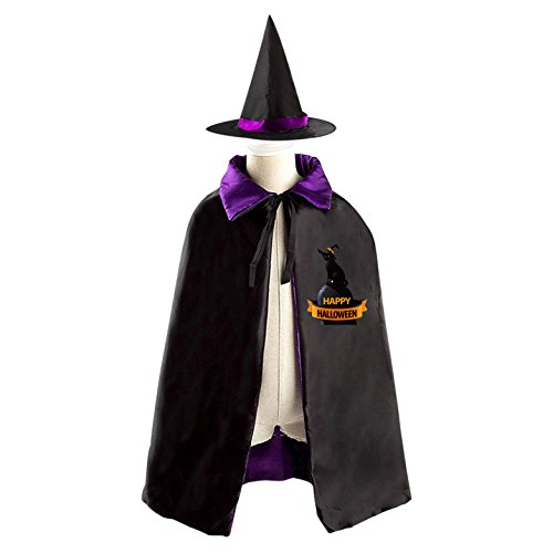 Happy Black Cat Kids Halloween Party Costume Cloak Wizard Witch Cape With Hat Set (The Cat In The Hat Costume Diy)