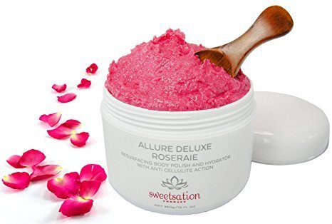 Scrub Body Allure (Allure Deluxe Roseraie Best Resurfacing Body Polish and Hydrator, with Anti Cellulite action, 360 gr. Scrub and moisturiser in one. Infused with Rose and Vanilla. by Sweetsation Therapy)