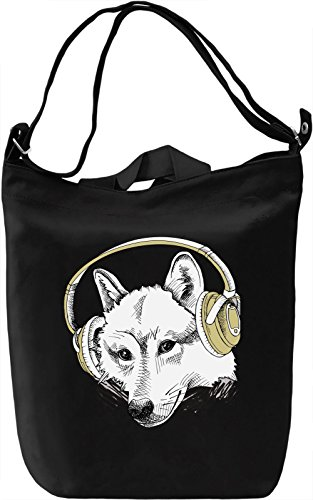 Wolf with Headphones Borsa Giornaliera Canvas Canvas Day Bag| 100% Premium Cotton Canvas| DTG Printing|