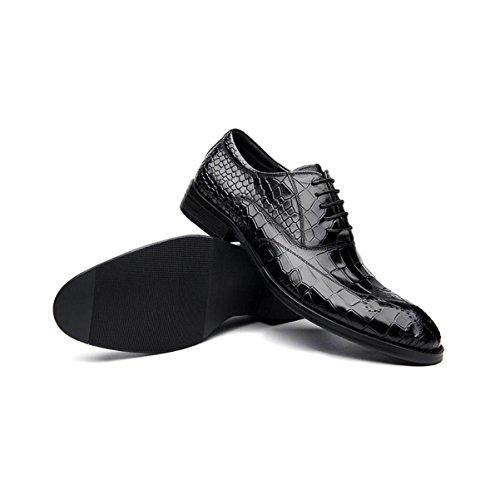 Lyzgf Mannen Jeugd Business Casual Mode Gentleman Getrouwd Veter Lederen Schoenen Zwart