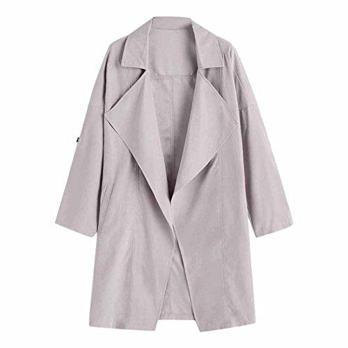 Women Coat Long Sleeve Solid Jacket Windbreaker Parka Outwear Fuibo Gray