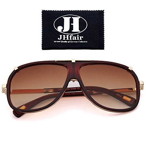 JHfair Large Retro Aviator Fashion Mens Sunglasses Brand - 2016 Stylish Sunglasses