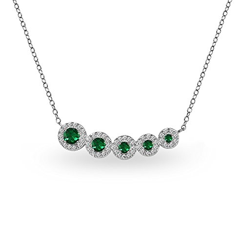 Journey Necklace Set - Sterling Silver Simulated Emerald Graduated Journey Necklace with White Topaz Accents