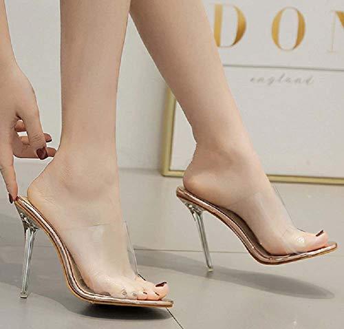 Ghfjdo Tacones Abren Zapatos Mujeres Las Mulas Dedo Vestido Transparentes Sandalias Del Boda Pie Fiesta De Altos Bombas Clear wz6wnrxq